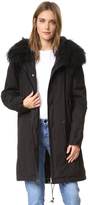 Mr & Mrs Italy Black Coat with Fur Trim