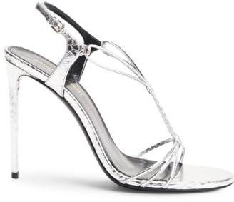 Saint Laurent Robin Metallic Snakeskin Slingback Sandals