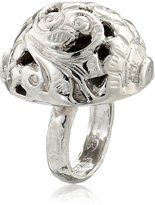 "Devon Leigh Bold "" Rhodium Dipped Carved Ball Ring, Size 7"
