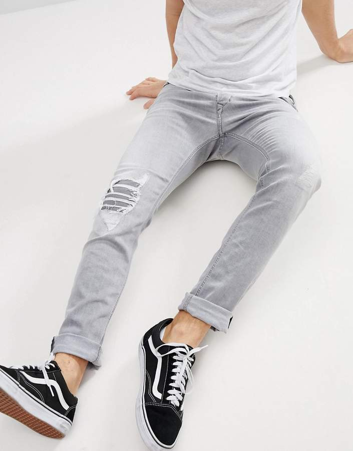 Diesel Tepphar Skinny Jeans in Light Gray Wash