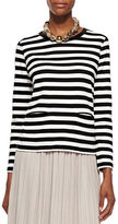 Joan Vass Long-Sleeve Striped Top, Plus Size