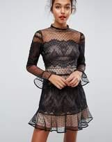 Asos Lace Dobby Patchwork Long Sleeve Mini Dress