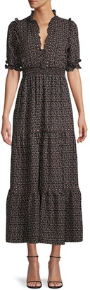 Max Studio Print Long Peasant Dress