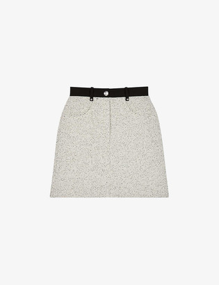 Maje Jadka contrast-trim wool-blend tweed mini skirt