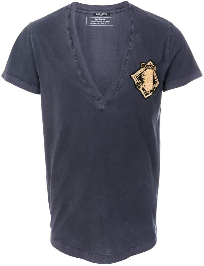 Balmain embroidered patch T-shirt