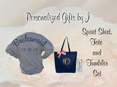 Etsy bridesmaid gift set, spirit shirt, monogrammed tote, personalized tumbler set, Bridesmaids Game Day