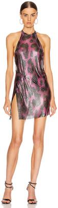 Fannie Schiavoni for FWRD Alicia Halter Mini Dress in Pink Leopard | FWRD