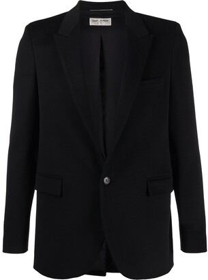 Saint Laurent Peaked Lapel Single-Breasted Blazer