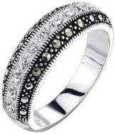 Silver Plated Marcasite and Crystal Stripe Band Ring