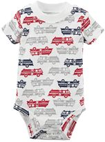 Carter's Baby Boy Short Sleeve White Printed Bodysuit