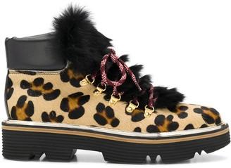 Pollini Leopard Faux-Fur Detail Boots