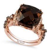 LeVian 0.42TCW Diamonds, Quartz and 14K Rose Gold Chocolatier Ring