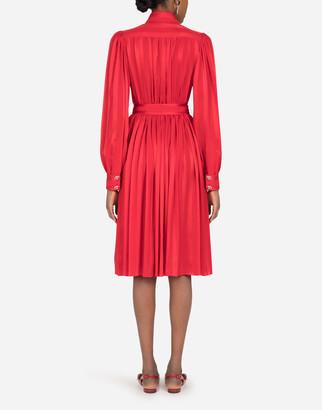Dolce & Gabbana Satin jacquard midi shirt dress