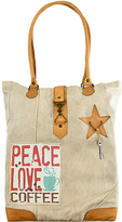 Vintage Addiction Tan 'Peace Love Coffee' Canvas Tote