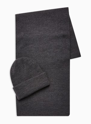 Topman 2 Grey Ribbed Beanie and Scarf Multipack