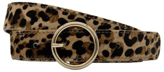 Loop Leopard Print Leather Belt with Light Polished Gold Round Buckle