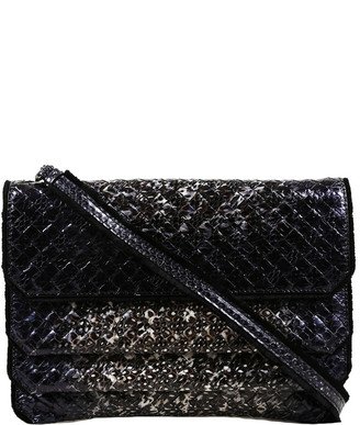 Bottega Veneta Black Snakeskin Intrecciato Leather Crossbody