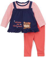 Buster Brown Calypso Coral & Blue 'Super Sweet' Ruffle Tee & Leggings - Infant
