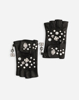 Thumbnail for your product : Dolce & Gabbana Nappa leather gloves with bejeweled embellishment