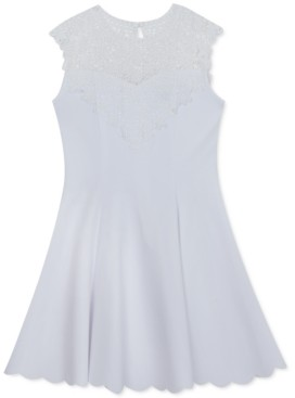 Rare Editions Big Girls Lace Illusion Neckline to Scuba Crepe Skirt Dress