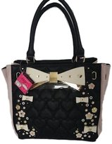 Betsey Johnson 3D Flowers & Bows Quilted Hearts Black Blush Handbag Shoulder Bag