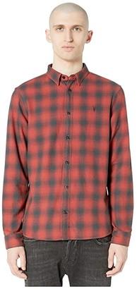 AllSaints Catalpa Long Sleeve Shirt (Oxide Red) Men's Clothing