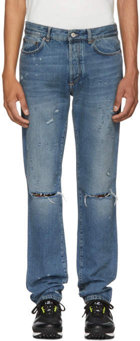Givenchy Blue Destroyed Lightning Jeans