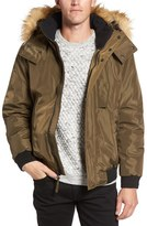 Andrew Marc Men's Knox Down & Feather Bomber Jacket With Removable Faux Fur Trim Hood