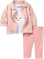 Isaac Mizrahi Fox Applique Tee, Cardigan & Pant Set (Baby Girls 0-9M)