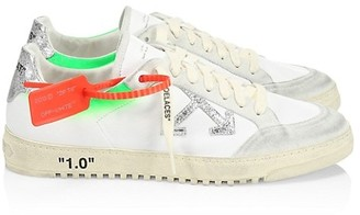 Off-White 2.0 Neon Accent Leather Low-Top Sneakers