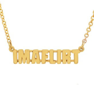 Established I'M A FLIRT Phrase Yellow Gold Chain Necklace