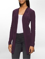 Calvin Klein Ribbed Knit Suede Cardigan