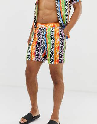 Asos Design DESIGN two-piece swim shorts in bright animal stripe print mid length-Multi