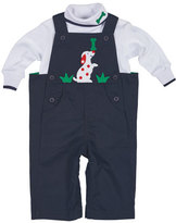 Florence Eiseman Cotton Twill Puppy Overalls w/ Turtleneck Top, Navy/White, Size 6-24 Months