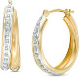 "Zales Diamond Fascinationâ""¢ Crossover Hoop Earrings in 14K Gold"