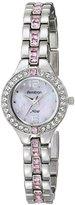 Swarovski Armitron Women's 75/5205PMSV Pink Crystal Accented Silver-Tone Bracelet Watch