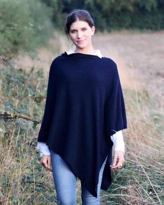 Cadenza Italy - Midnight Blue Cashmere Blend Poncho - wool - Silver/Silver
