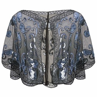 Boer Women's 1920s Shawl - Sequin Beaded Shawl evening cape Vintage Shiny Party Flapper Cover Up Wedding Cape Bridal Shawl Scarf