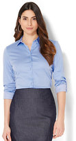 New York & Co. 7th Avenue - Madison Stretch Shirt - Blue & White Pinstripe - Petite