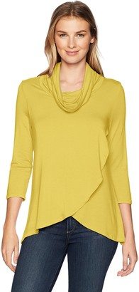 Slim Sation SLIM-SATION Women's 3/4 Sleeve Cowl Collar Wrap Front High- Low Solid Top