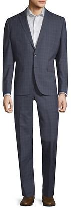 Kenneth Cole Double Windowpane Wool Suit