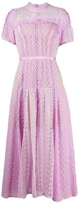 Self-Portrait Short-Sleeve Lace Dress