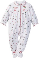 Little Me Candy Cane Velour Footie (Baby Girls)