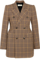 Balenciaga Hourglass Double-breasted Checked Wool Blazer - Brown