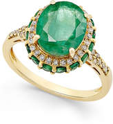 Macy's Emerald (3-1/2 ct. t.w.) and White Sapphire (1/3 ct. t.w.) Oval Ring in 10k Gold