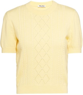 Miu Miu Pearl-Embellished Cashmere Knitted Top