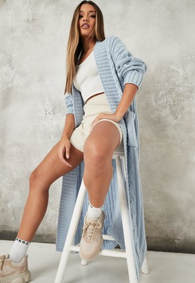 Missguided Tall Blue Maxi Cable Knitted Cardigan