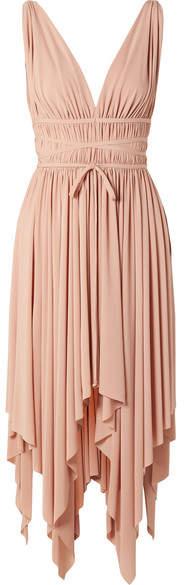 Norma Kamali Goddess Ruched Stretch-jersey Midi Dress - Antique rose