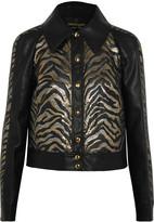 Roberto Cavalli Lamé jacquard-paneled faux leather jacket