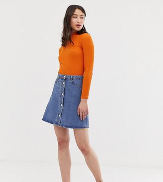Noisy May Tall button front denim skirt-Blue
